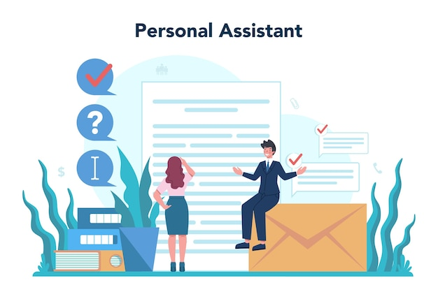 Koncepcja Osobistego Asystenta Biznesmena. Fachowa Pomoc I Wsparcie Dla Managera. Premium Wektorów