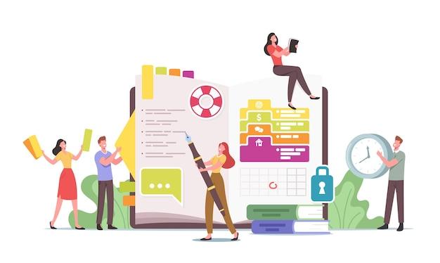 Koncepcja osobistego organizatora. małe postacie w wielkim pamiętniku pisanie notatek, planowanie ofert, wypełnianie listy zadań do wykonania, umieszczanie naklejek i obrazków, okrągła data w kalendarzu. ilustracja wektorowa kreskówka ludzie