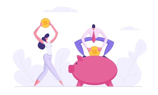 Koncepcja oszczędzania pieniędzy z postaciami ludzi biznesu i ilustracja skarbonka