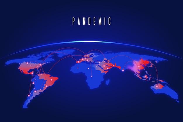 Koncepcja pandemii z mapą