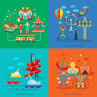 Koncepcja park rozrywki zestaw z ekstremalnych wodnych atrakcji rodziny płaskie ikony