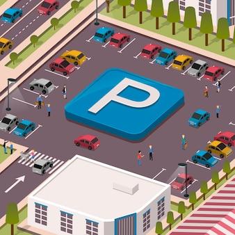 Koncepcja parkingu w 3d izometrycznej płaskiej konstrukcji