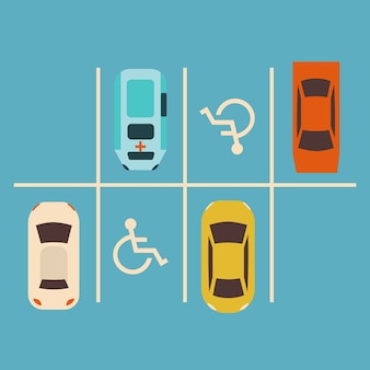 Koncepcja parkingu. zestaw samochodowy. strefa parkowa dla kierowców.