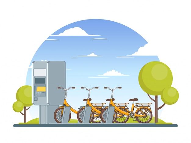 Koncepcja parkowania kolorowych rowerów