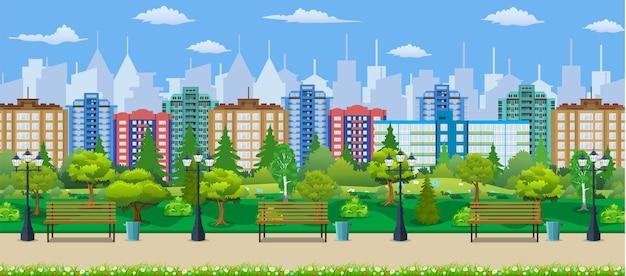 Koncepcja parku miejskiego, drewniana ławka, lampa uliczna, kosz na śmieci w kwadracie. pejzaż miejski z budynkami i drzewami.