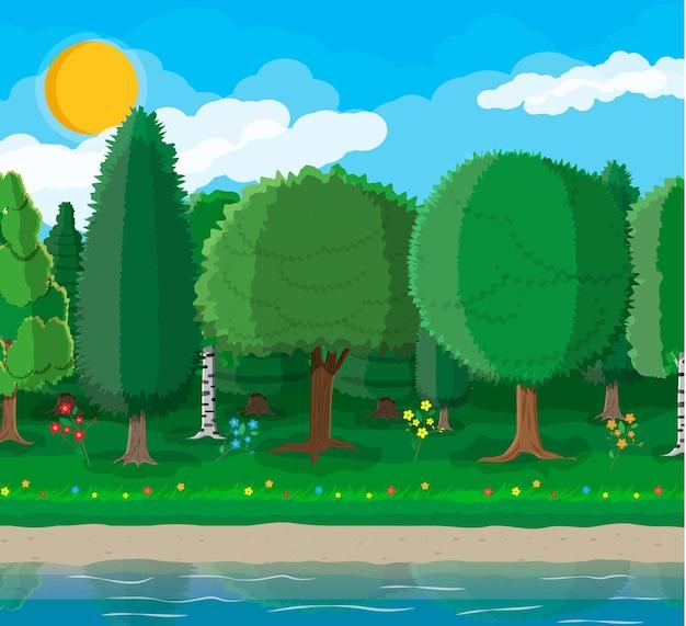 Koncepcja parku miejskiego, zbiornik wodny i drzewa. kwiaty, staw lub rzeka. głęboki las. niebo z chmurami i słońcem. czas wolny w letnim parku miejskim. ilustracja wektorowa w stylu płaski