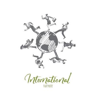 Koncepcja partnerów międzynarodowych. ręcznie rysowane biznesmenów na całym świecie. partnerzy biznesowi ilustracja na białym tle.