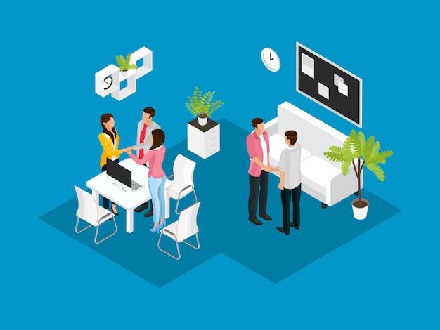 Koncepcja partnerstwa biznesowego izometryczny