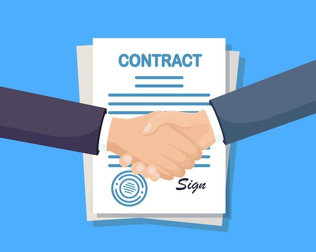 Koncepcja partnerstwa biznesowego. uścisk dłoni. kreskówka