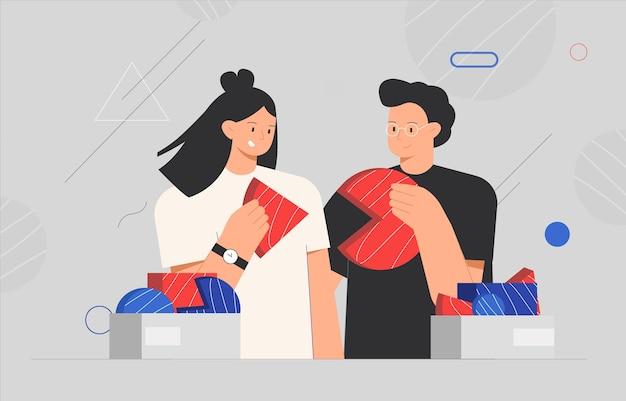 Koncepcja partnerstwa coworkingowego i biznesowego. osoby łączące elementy puzzli lub elementy układanki.