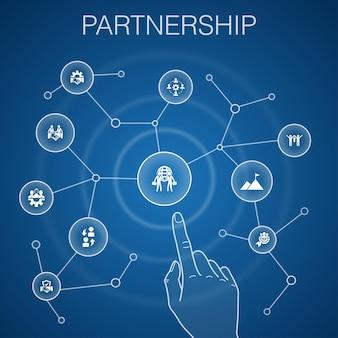 Koncepcja partnerstwa, niebieskie tło.współpraca, zaufanie, umowa, ikony współpracy