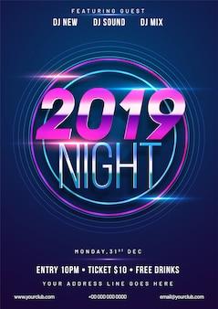 Koncepcja party nowy rok 2019.