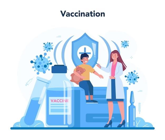 Koncepcja pediatry. lekarz bada dziecko stetoskopem.