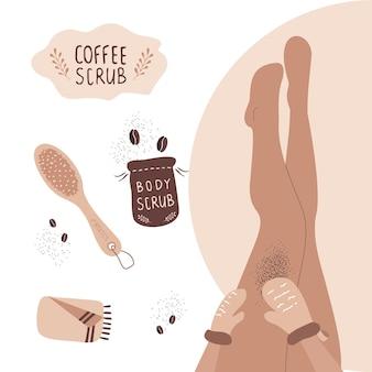 Koncepcja peeling do kawy. kobieta złuszczający nogi rękawiczkami do masażu.