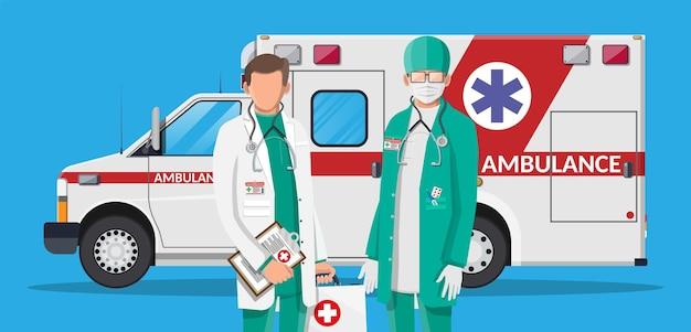 Koncepcja personelu pogotowia. lekarz w białym fartuchu ze stetoskopem i skrzynką. karetka pogotowia, pojazd ratowniczy. diagnostyka zdrowotna, szpitalna i medyczna. usługi w trybie pilnym. płaska ilustracja wektorowa