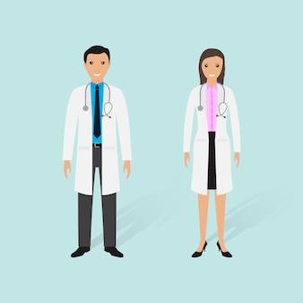 Koncepcja personelu szpitala. para lekarzy płci męskiej i żeńskiej.