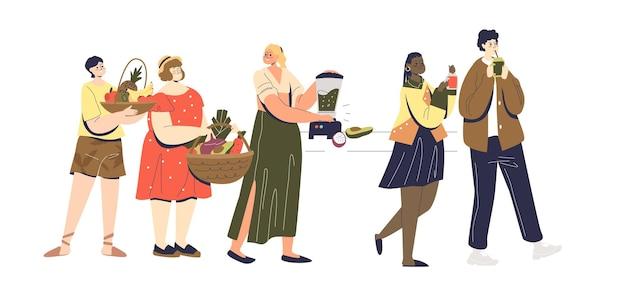 Koncepcja picia smoothie z zestawem kreskówka biodrówki młodych ludzi pijących i gotujących razem świeże koktajle z owoców i warzyw. płaska ilustracja wektorowa