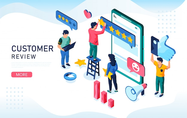 Koncepcja pięciu gwiazdek na telefony komórkowe. izometryczna ilustracja przeglądu klienta. możesz użyć, do strony docelowej, aplikacji mobilnej, szablonu baneru.