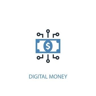Koncepcja pieniądza cyfrowego 2 kolorowa ikona. prosta ilustracja niebieski element. projekt symbolu koncepcji cyfrowych pieniędzy. może być używany do internetowego i mobilnego interfejsu użytkownika/ux