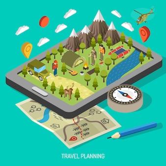 Koncepcja piesze wycieczki i camping