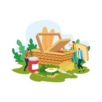Koncepcja piknik kreskówka, szczęśliwi ludzie na ilustracji letnich rekreacji