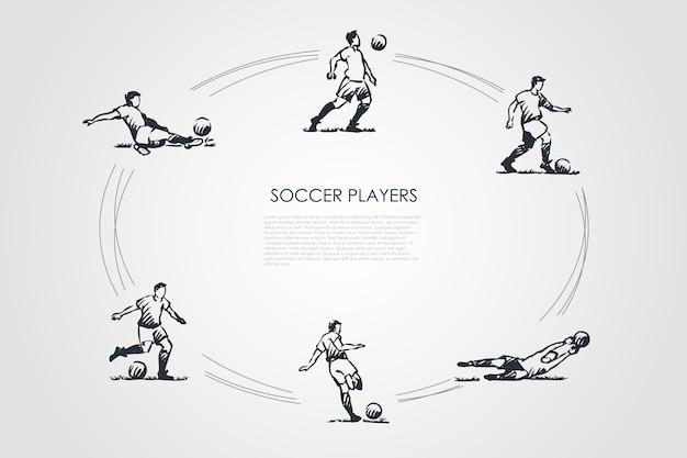 Koncepcja piłkarzy zestaw ilustracji