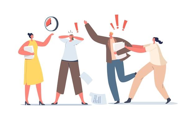 Koncepcja pilnej pracy. niespokojne postacie biznesowe w biurze chaosu. termin, wściekli, zestresowani pracownicy spieszą się z pracą