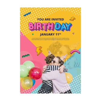Koncepcja pionowa ulotki urodziny