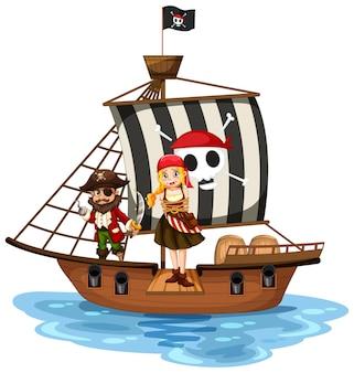 Koncepcja pirata z postacią z kreskówek z dziewczyną chodzącą po desce na statku na białym tle