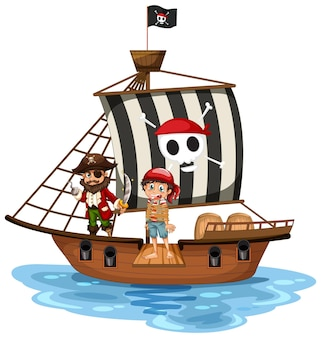 Koncepcja pirata z postacią z kreskówki chłopca spacerującą po desce na statku na białym tle