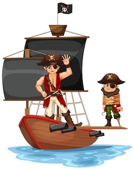Koncepcja pirata z postacią z kreskówki mężczyzny chodzącą po desce na statku na białym tle