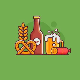Koncepcja piwa rzemieślniczego z tradycyjnymi symbolami i elementami warzenia piwa.