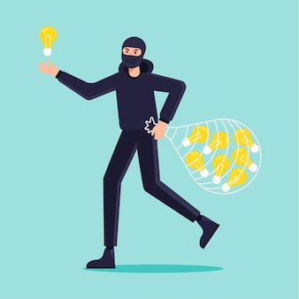 Koncepcja plagiatu ze złodziejem i żarówkami