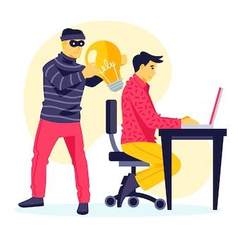 Koncepcja plagiatu ze złodziejem kradnącym pomysły