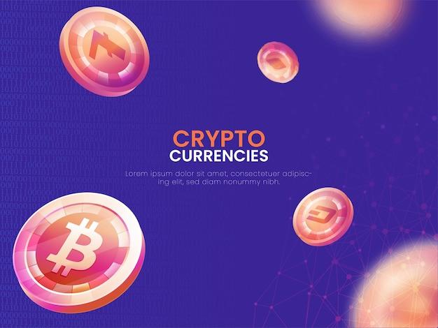 Koncepcja plakatu na podstawie kryptowalut ozdobiona ilustracjami 3d monet.