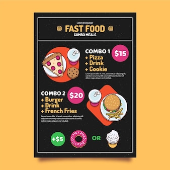 Koncepcja plakatu posiłki combo