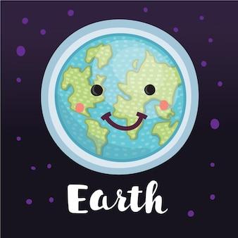 Koncepcja planety ziemia kula ziemska z słodkie słodkie uśmiechnięte twarzy