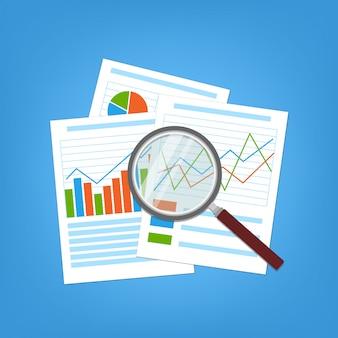 Koncepcja planowania biznesowego i rachunkowości, analizy, koncepcji audytu finansowego, analizy seo, kontroli podatkowej, pracy, zarządzania. papierowe wykresy i wykresy analityczne. szkło powiększające na dokumencie.