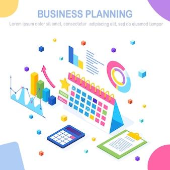 Koncepcja planowania biznesowego. izometryczny