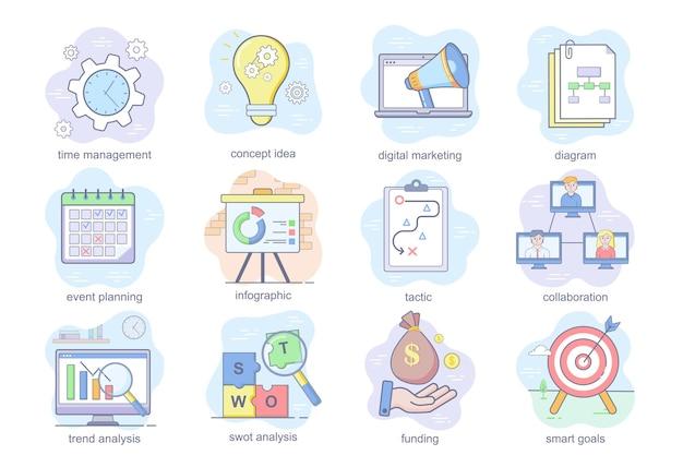 Koncepcja planowania biznesowego płaskie ikony ustaw pakiet zarządzania czasem planowanie wydarzeń marketingowych cyfrowych ...