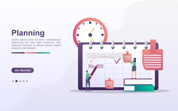 Koncepcja planowania i planowania, tworzenie osobistego planu studiów, planowanie czasu pracy, wydarzenia i aktualności, przypomnienie i harmonogram. można używać do strony docelowej, banera, aplikacji mobilnej. płaska konstrukcja