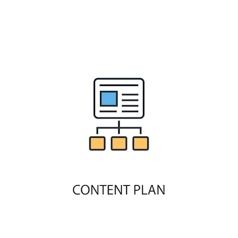 Koncepcja planu treści 2 kolorowa ikona linii. prosta ilustracja elementu żółty i niebieski. plan treści koncepcja zarys symbol projekt