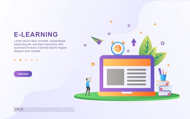 Koncepcja płaska konstrukcja e-learningu.