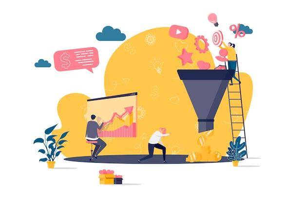 Koncepcja płaska lejka marketingowego z ilustracjami postaci ludzi
