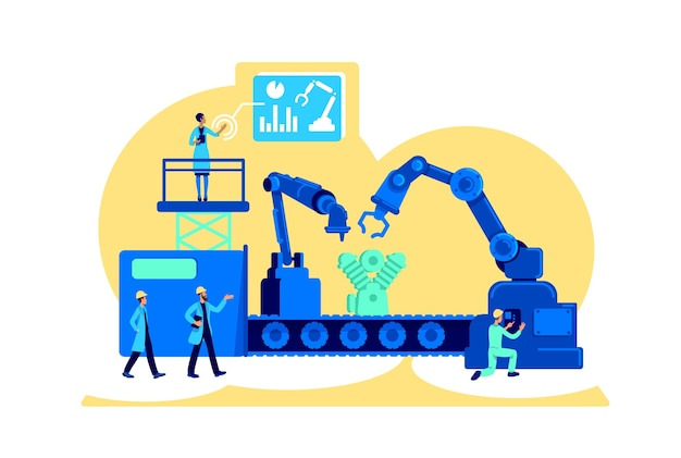 Koncepcja płaska nowoczesnej fabryki. zarządzanie przepływem pracy na przenośniku taśmowym w zakładzie. produkcja postaci z kreskówek 2d do projektowania stron internetowych. pomysł na transformację cyfrową