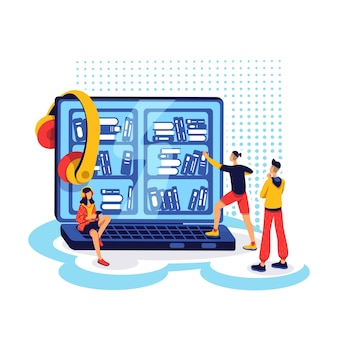 Koncepcja płaski biblioteki ebook. ludzie wybierają książki audio na komputerze. edukacyjna platforma internetowa. czytelnicy postaci z kreskówek 2d do projektowania stron internetowych. pomysł na platformę audiobook