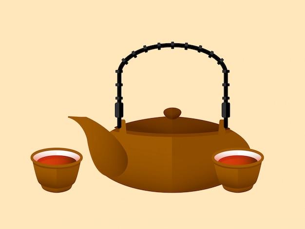 Koncepcja płaski chiński czerwona herbata