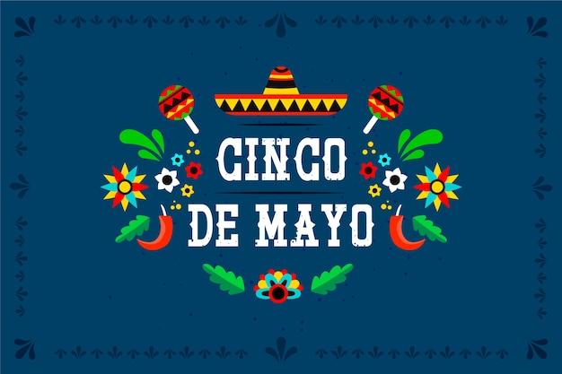 Koncepcja płaski cinco de mayo