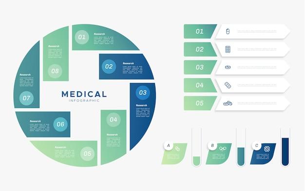Koncepcja płaski infografiki medyczne