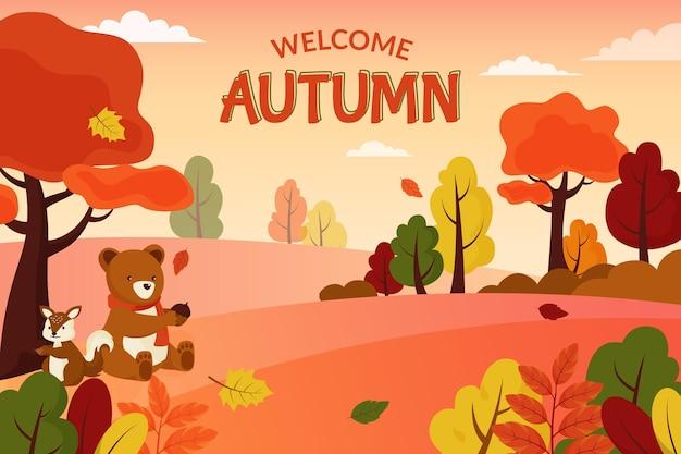 Koncepcja płaski jesień tło